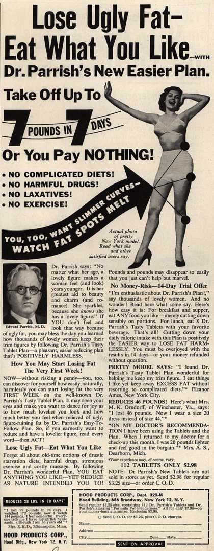 Hood Products Corporation's Dr. Parrish's Tasty Tablet Plan – Lose Ugly Fat- Eat What You Like -With Dr. Parrish's New Easier Plan. (1950)