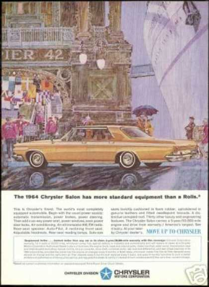 Chrysler 4 Dr Salon Car Cruise Ship Pier Art (1964)
