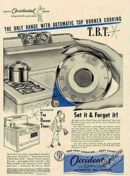 "Occidental Gas Ranges ""Automatic Top Cooking"" (1953)"