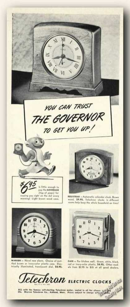 Telechron Electric Clocks Antique Photos (1941)