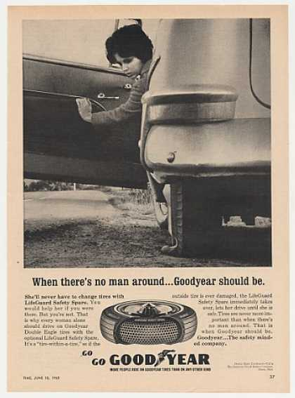 Lady Flat Tire No Man Around Goodyear Tires (1965)