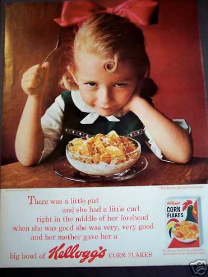 Little Girl Eating Kellogg's Corn Flakes Cereal (1963)