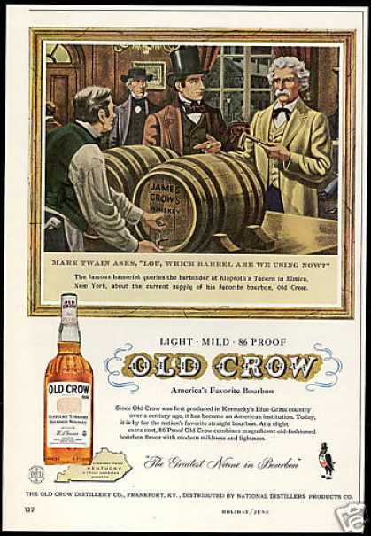 Old Crow Whiskey Mark Twain Vintage (1958)