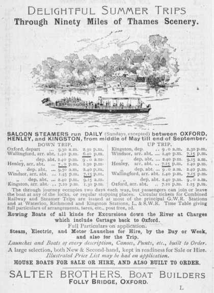 Notice of Sailings of Thames Steamers Operated by Salter Brothers of Folly Bridge Oxford