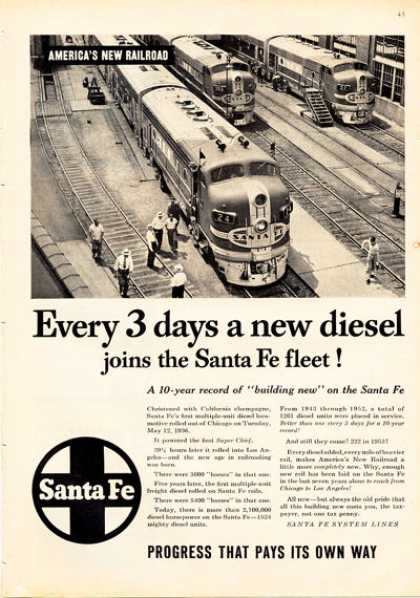 Santa Fe Super Chief Diesel Train Railroad (1953)
