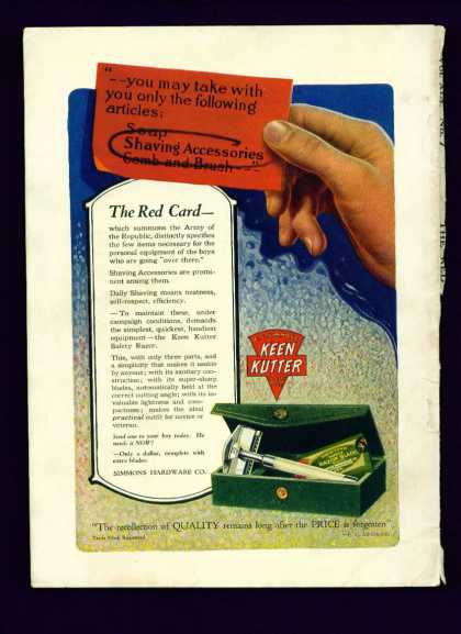 Keen Kutter Safety Razor Ad C Full Color (1918)