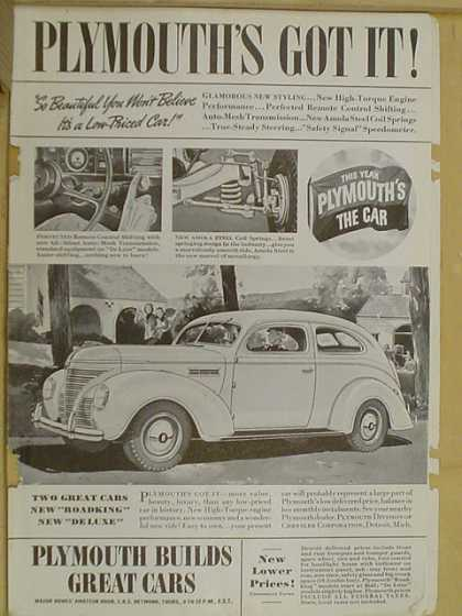 Plymouth Automobile. Plymouth's got it. (1938)