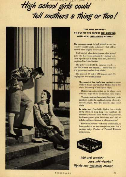 Modes's Sanitary Napkins – High school girls could tell mothers a thing or two (1947)
