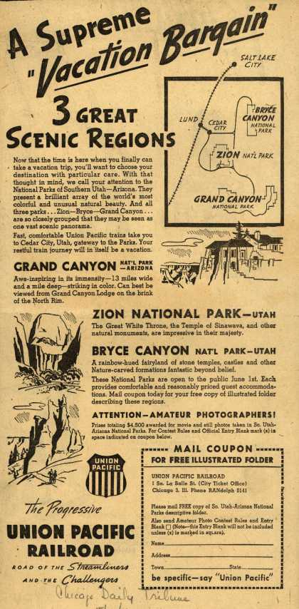 "Union Pacific Railroad's National Parks of Utah-Arizona – A Supreme ""Vacation Bargain"" 3 Great Scenic Regions (1946)"