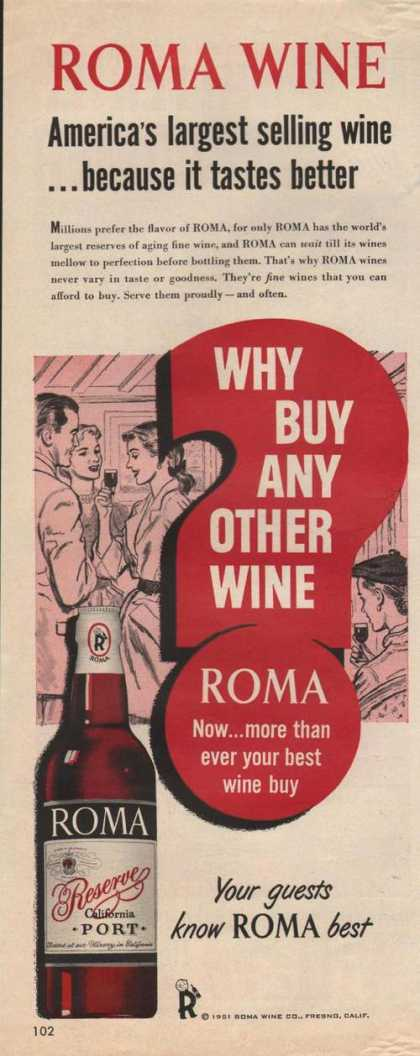 Roma Reserve California Port Wine (1951)