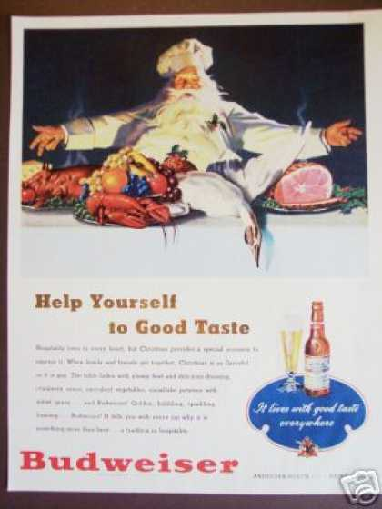Budweiser Beer Christmas Santa Great Art (1947)