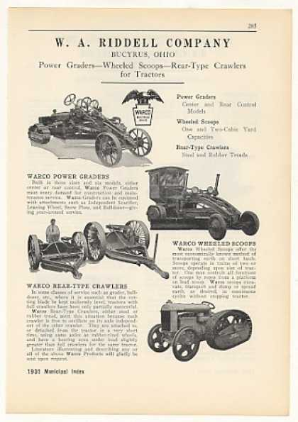 W A Riddell Power Grader Crawler Scoop (1931)