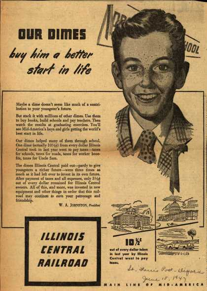 Illinois Central Railroad – Our Dimes buy him a better start in life (1947)