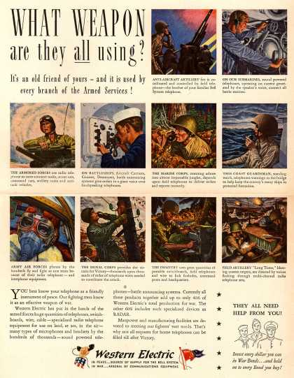 Western Electric – What Weapon Are They All Using? It's an Old Friend of Yours – and It Is Used by Every Branch of the Armed Services (1945)