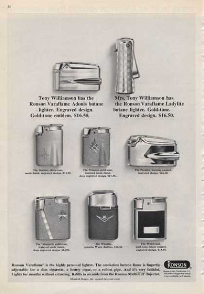Ronson Details 8 Lighters With Prices (1965)
