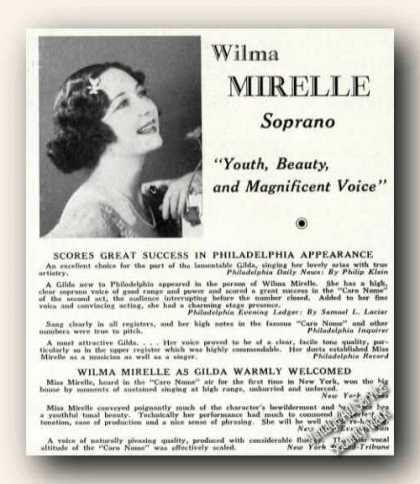 Wilma Mirelle Photo Soprano Rare Ad Music (1937)