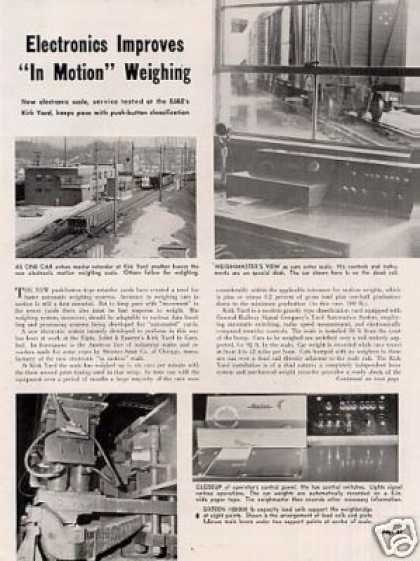 """Electronics Improves Weighing"" Article/ej&e-ki (1956)"