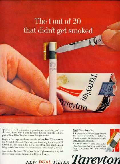 Tareyton Cigarettes Dual Filter W Charcoal C (1960)