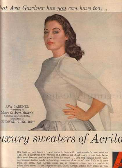 Luxury Sweaters of Acrilan – Ava Gardner (1955)