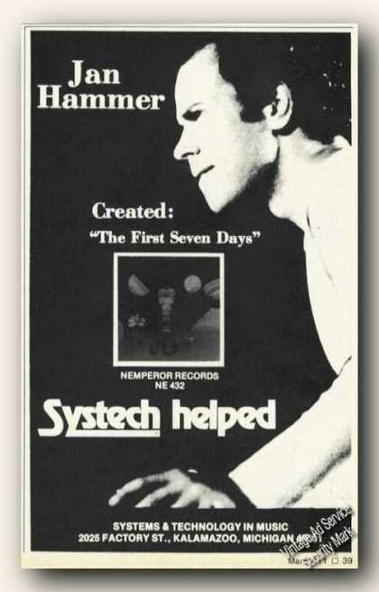Jan Hammer Photo Systech Kalamazoo Mi Promo (1976)