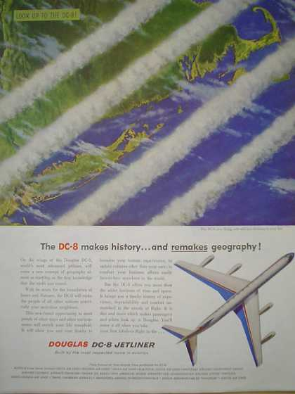 Douglas DC-8 Jet liner Airplane Plane Look Up (1958)