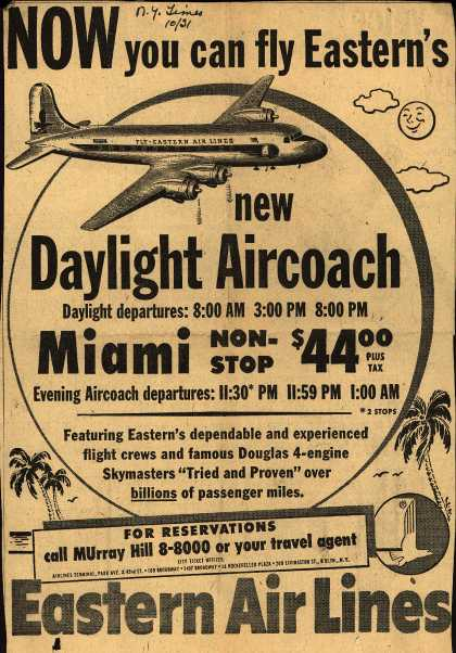 Eastern Air Line's Daylight Aircoach – NOW you can fly Eastern's new Daylight Aircoach (1952)
