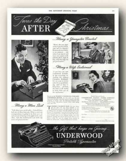 Underwood Typewriters Christmas Old (1937)