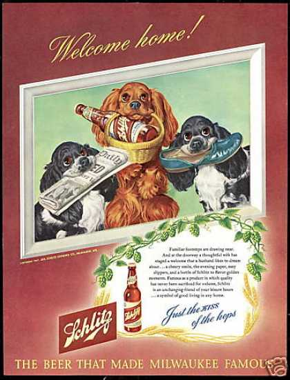 Cute Cocker Spaniel Dog Schlitz Beer (1947)