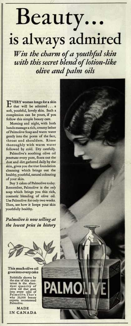 Colgate-Palmolive-Peet Company's Palmolive Soap – Beauty...is always admired (1933)