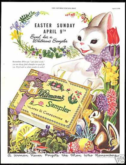 Easter Rabbit Flowers Whitman's Chocolate (1950)