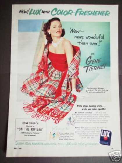 Gene Tierney On the Riviera Movie Promo Lux (1951)
