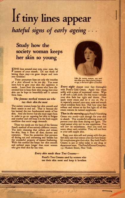 Pond's Extract Co.'s Pond's Cold Cream and Vanishing Cream – If tiny lines appear, hateful signs of early ageing... (1923)