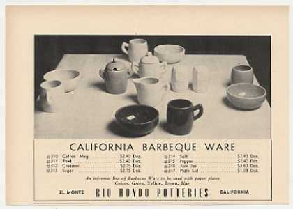 Rio Hondo Potteries California Barbeque Ware (1947)