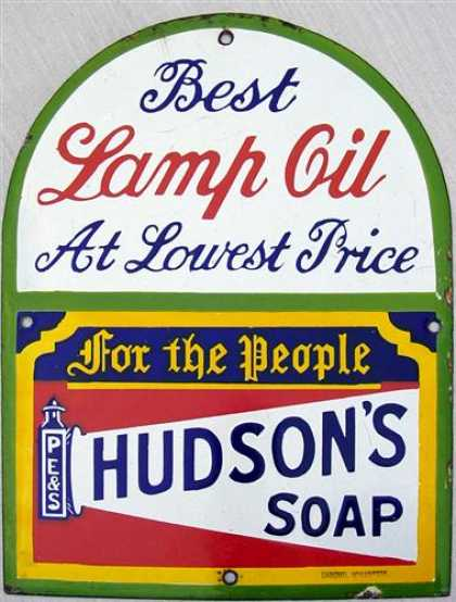 Hudson's Lamp Oil & Soap Sign
