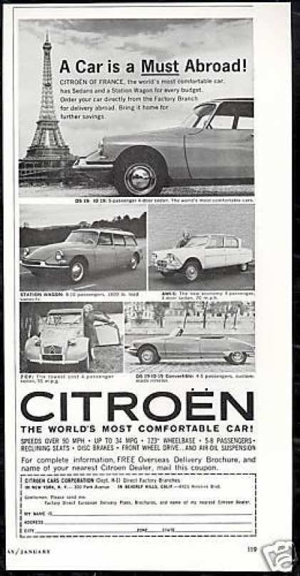 Citroen Eiffel Tower 5 Car Photo Vintage (1963)