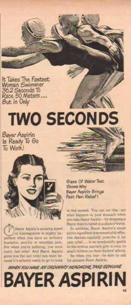 Bayer Aspirin – Swimming Relief with Fast Pain Relief (1948)