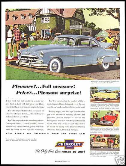Chevrolet 4 Car Vintage Print Sports Theme (1952)