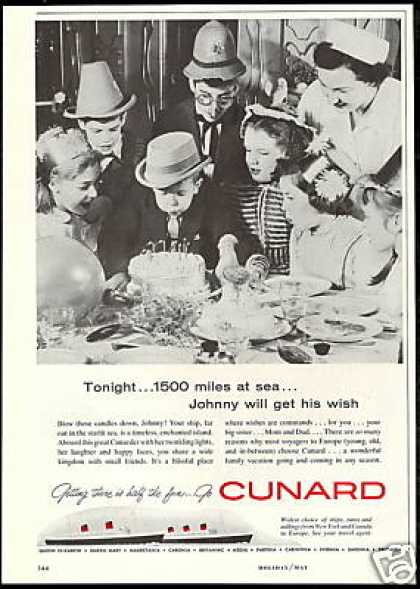 Cunard Cruise Line Ship Photo Vintage (1958)