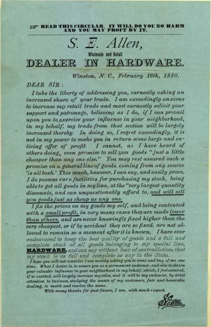 S. E. Allen Hardware's hardware – S.E. Allen, Wholesale and Retail Dealer In Hardware (1880)