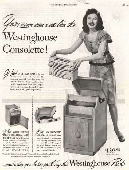 Westinghouse Electric Corporation's Radio Phonograph – You've never seen a set like this Westinghouse Consolette (1947)