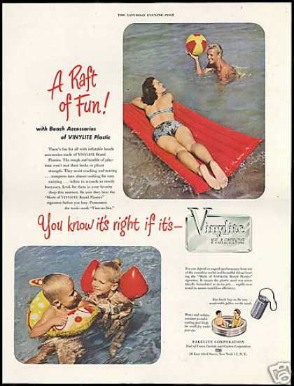 Vinylite Plastic Water Air Mattress Floatation (1948)