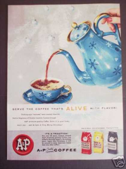 Blue Snowflake Coffee Pot A&p Eight O'clock (1958)