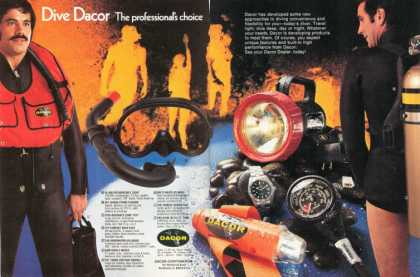 Dacor Ad Scubal Dive Diving Gear Watch Light, Fins (1974)