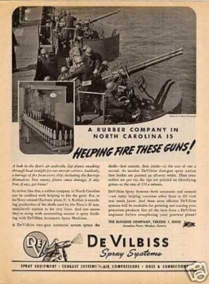 Devilbiss Company Ad 40mm. Anti-aircraft Cannon (1945)