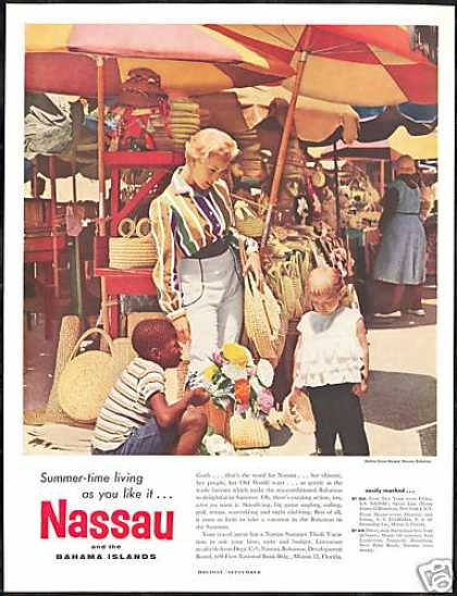 Nassau Bahamas Straw Market Photo Travel (1959)