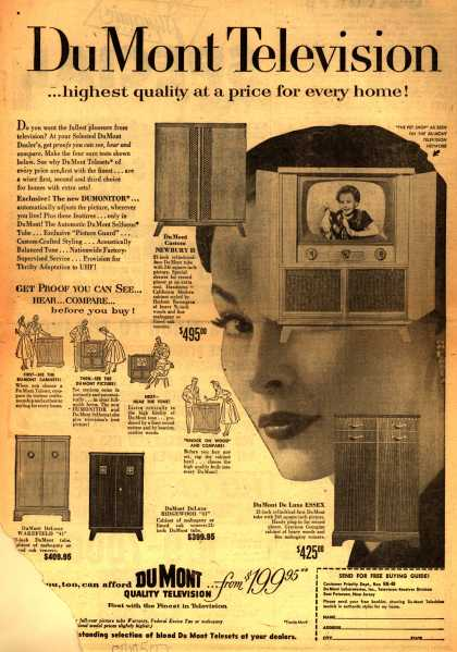 Allen B. DuMont Laboratorie's various – Du Mont Television... highest quality at a price for every home (1953)