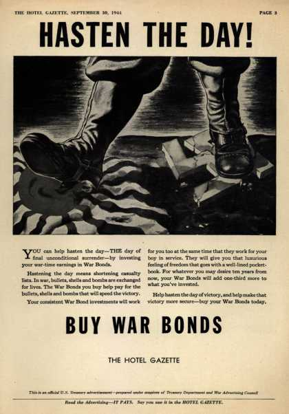 U. S. Treasury Dept.'s War Bonds – Hasten The Day! Buy War Bonds. (1944)
