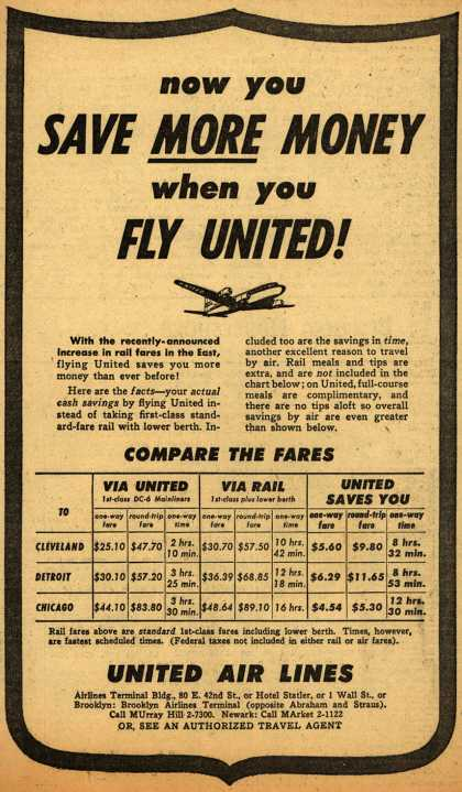 United Air Line's Savings over Railway – Now you Save More Money when you Fly United (1950)