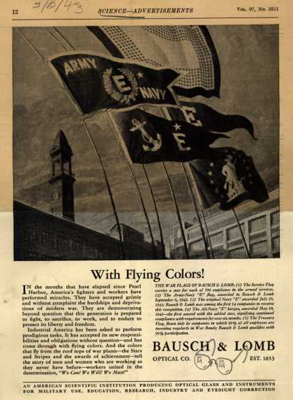 "Bausch & Lomb Optical Co.'s Army Navy ""E"",Service Flag,Navy ""E"",Treasury Flag – With Flying Colors (1943)"