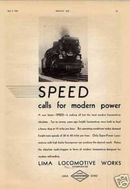 "Lima Locomotive Ad ""Speed Calls for Modern Power.. (1934)"